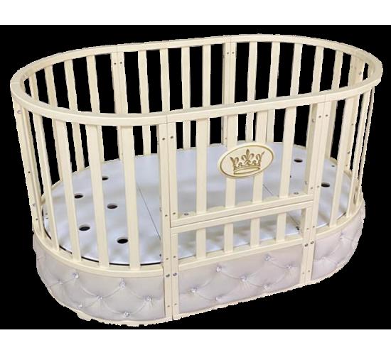 Кроватка овальная Патриция 8 в 1 с мягкой вставкой