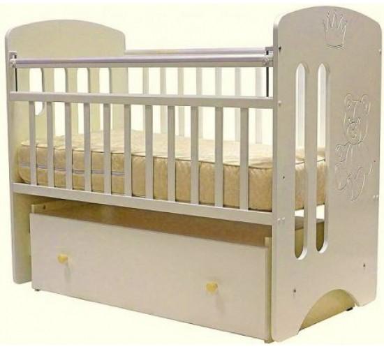Кроватка Каролина маятник поперечный 120*60 белый Мишка с короной