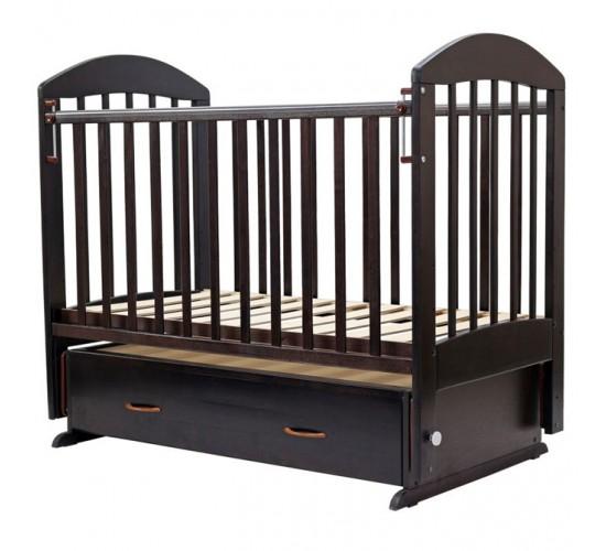 Кроватка Дарина-6 поперечный маятник с ящиком 120*60 шоколад