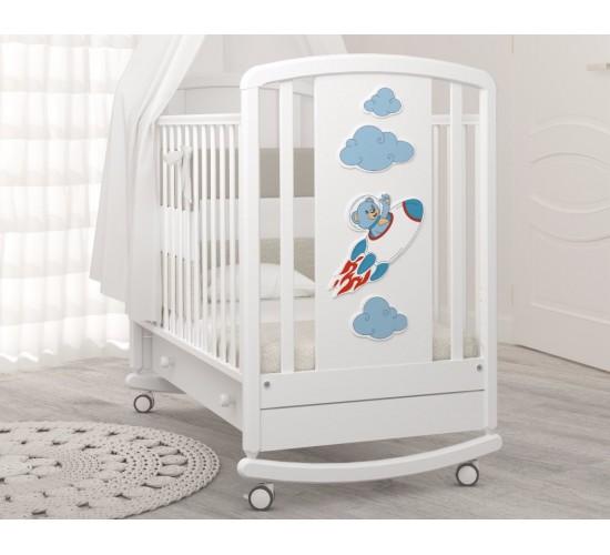 Детская кроватка-качалка Angela Bella Жаклин Мишка на ракете
