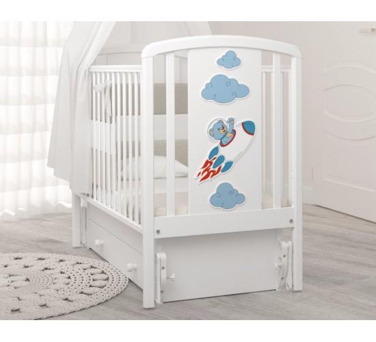 Детская кроватка с универсальным маятником Angela Bella Жаклин мишка на ракете