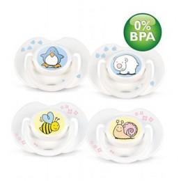 Пустышка силиконовая животные 0-3 м. (уп.2шт.) BPA-Free