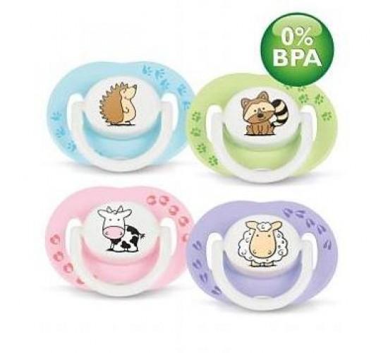 Пустышка силиконовая животные 3-6 м. (уп.2шт.) BPA-Free