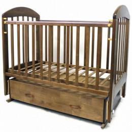 Кроватка Дарина-6 поперечный маятник с ящиком 120*60 коричневый