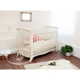 Кроватка С 553 сл кость Елизавета, белый накладка N 27 Бабочки