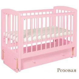 """Кроватка АБ 16.3 """"Ромашка"""" розовый продольный маятник"""