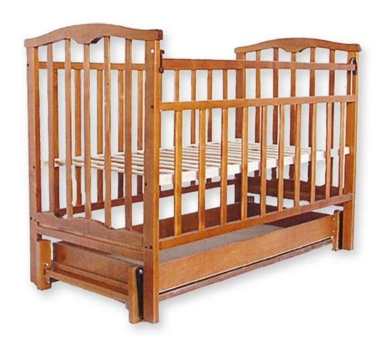 Детская кроватка Агат Золушка-6 маятник продольный с ящиком орех Арт.52101