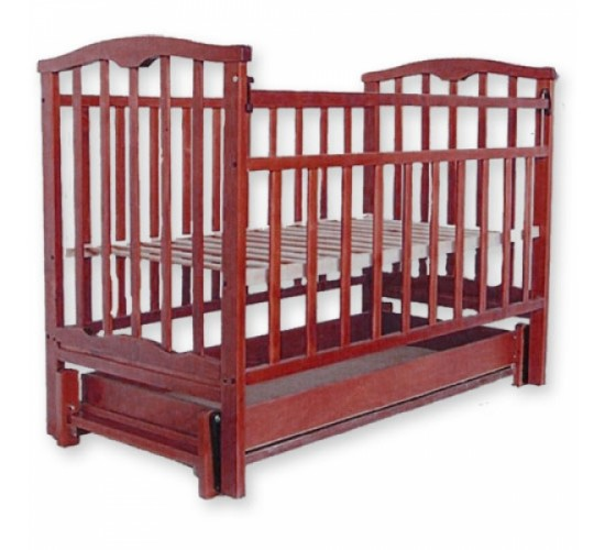 Детская кроватка Агат Золушка-6 маятник продольный с ящиком вишня Арт.52103