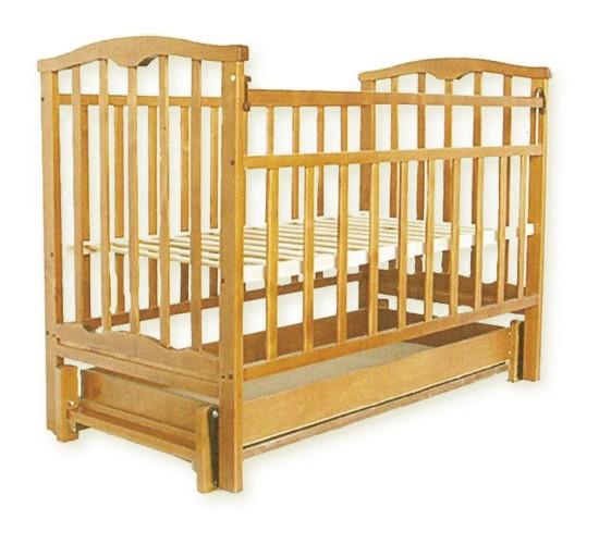 Детская кроватка Агат Золушка-6 маятник продольный с ящиком светлый Арт.52100