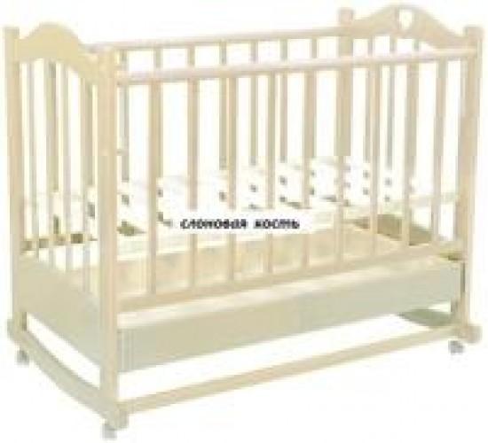 Кроватка ведрусс лана колесо-качалка 120*60  слоновая кость,  белый,  натуральный,  орех