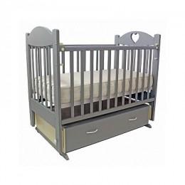 Кроватка Ева-6 с сердечком поперечный маятник с ящиком 120*60 Серебро