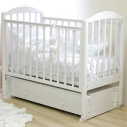 Кроватка Регина с 602 со стразами белый продольный маятник