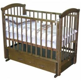 Кроватка С 625 красно-коричневый,  шокалад поперечный маятник