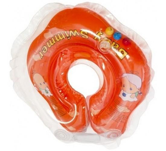 Круг для купания Baby Swimmer оранжевый (полуцвет+внутри погремушка) BS02O-B