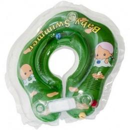 Круг для купания Baby Swimmer зеленый (полуцвет+внутри погремушка) BS02G-B