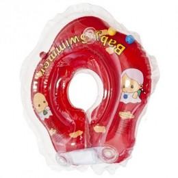 Круг для купания Baby Swimmer красный (полуцвет+внутри погремушка) BS02R-B