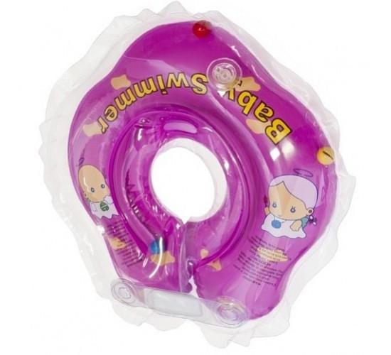 Круг для купания Baby Swimmer фиолетовый (полуцвет+внутри погремушка) BS02F-B