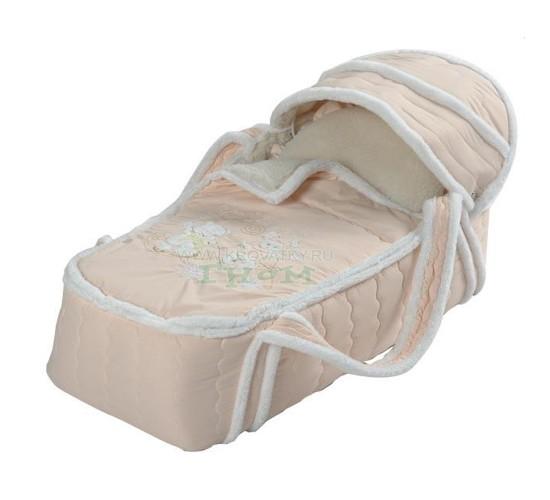 Сумка переноска для новорожденных зимняя (меховая) Снежинка Арт. 79 бежевый