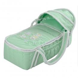 Сумка переноска для новорожденных зимняя (меховая) Снежинка Арт. 79 салатовый