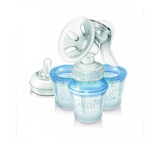 Молокоотсос ручной Comfort Natural с контейнерами для молока Philips Avent
