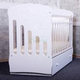 кроватка Бабочки белый со стразами