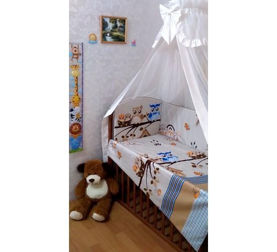 """Комплект в детскую кроватку """"Совы""""6 прд. Арт. 055Б"""