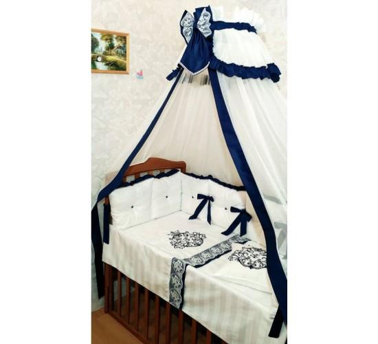 """Комплект в детскую кроватку """"Vinchi Royale Blue"""" 18 прд. с кружевами Арт. 036"""